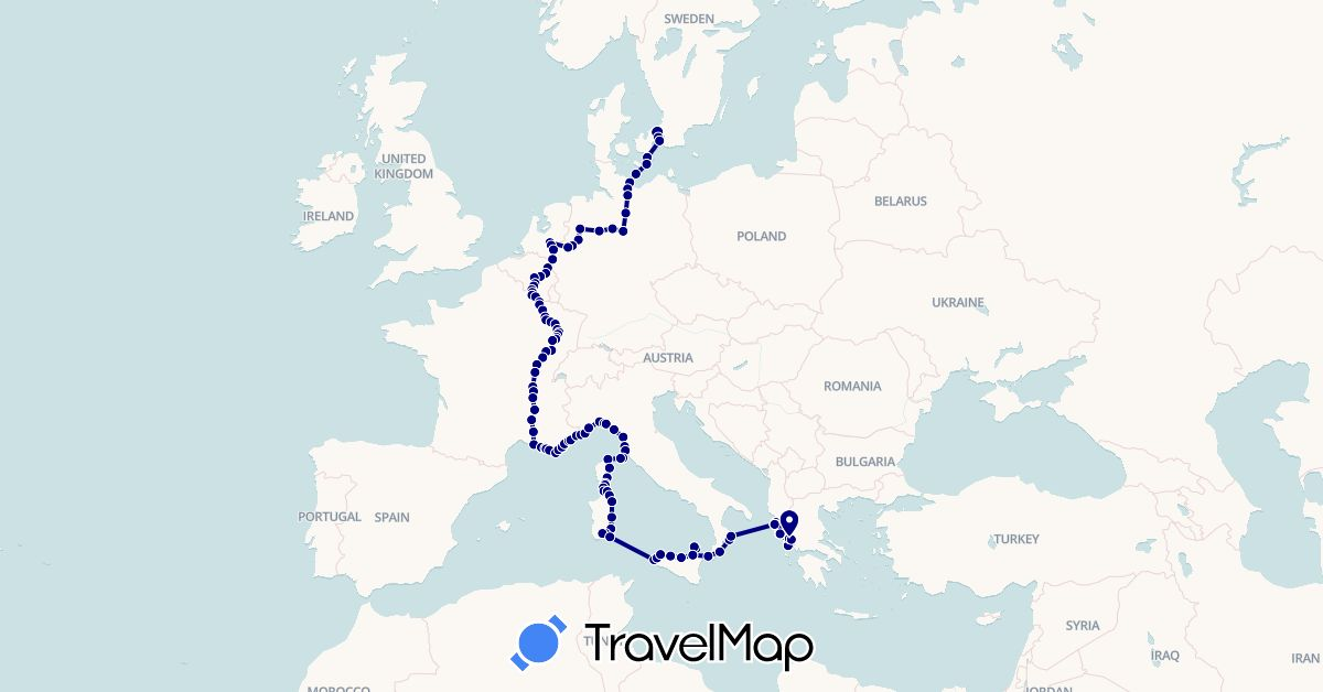 TravelMap itinerary: driving, boat in Belgium, Germany, Denmark, France, Greece, Italy, Netherlands (Europe)